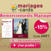 Cartes de remerciements de mariage : Remise de 15% chez MARIAGES-CARDS