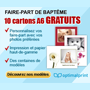 OPTIMALPRINT : 10 faire-part de baptême gratuits